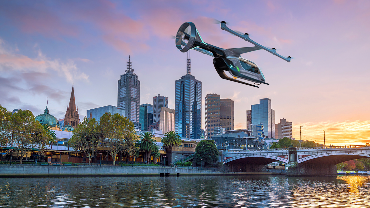 Uber eVTOL aircraft over Melbourne