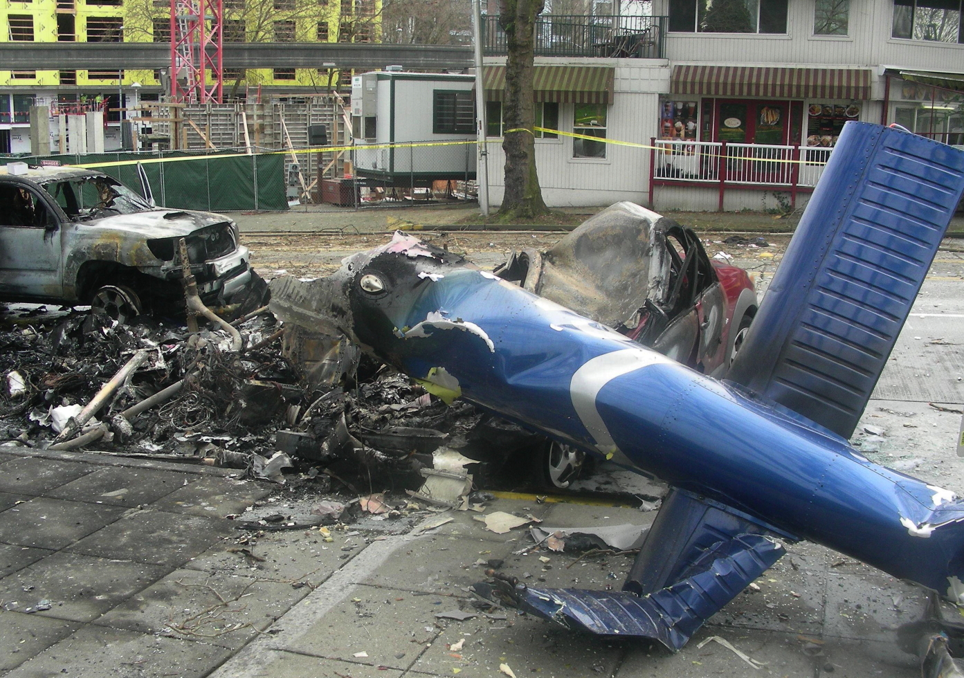 Wreckage of Seattle helicopter crash
