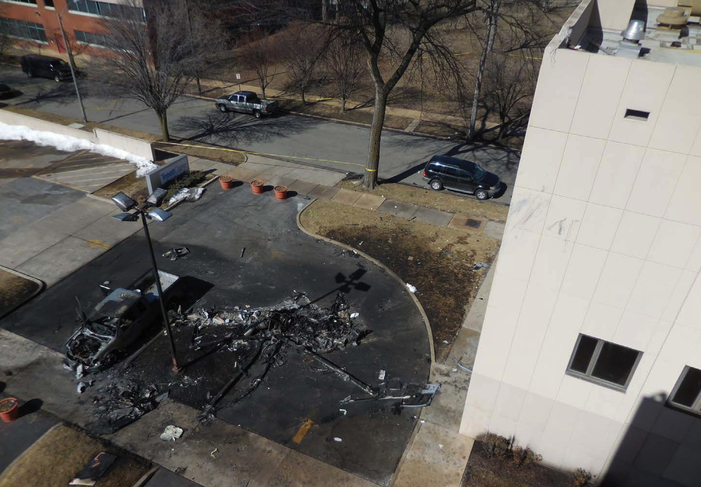 St Louis rooftop helipad crash