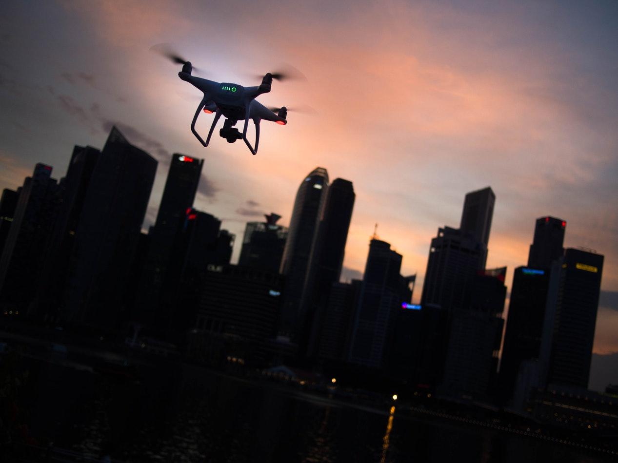 Small drone over city