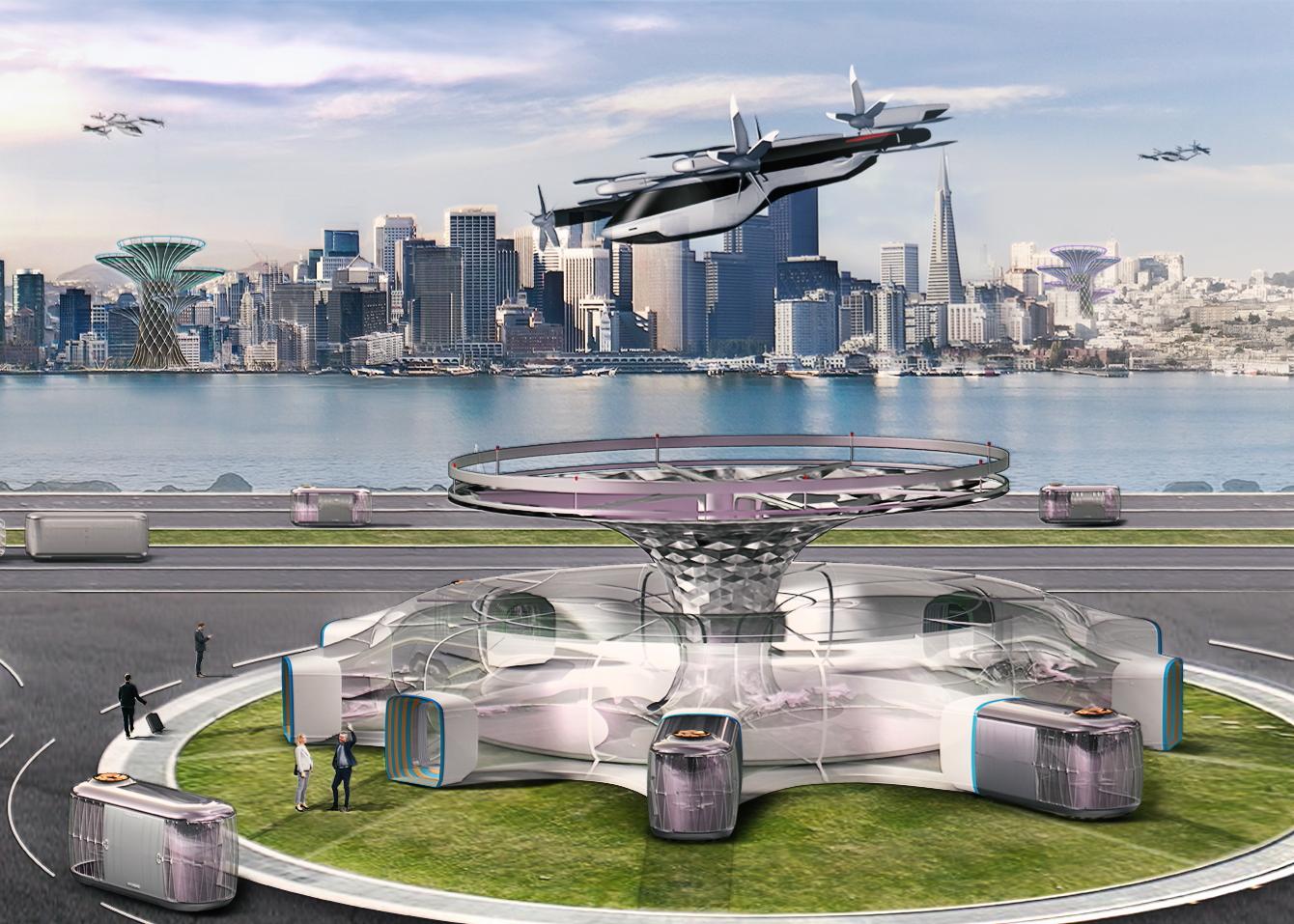 Arte conceptual de Hyundai Future Mobility eVTOL
