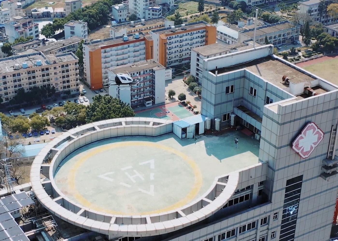 EHang over hospital during coronavirus trials