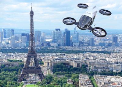 urban air mobility vehicle over Paris