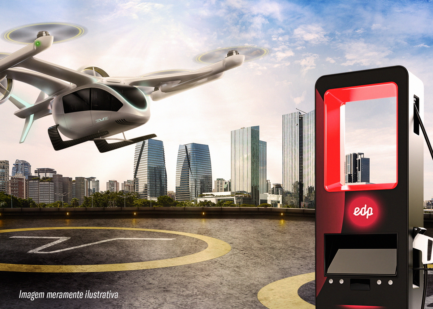 Eve eVTOL with EDP charger